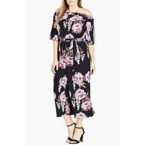 City Chic Floral Cascade Jumpsuit Plus Size 20/L